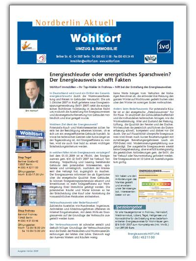 Kundenzeitung Herbst 2009